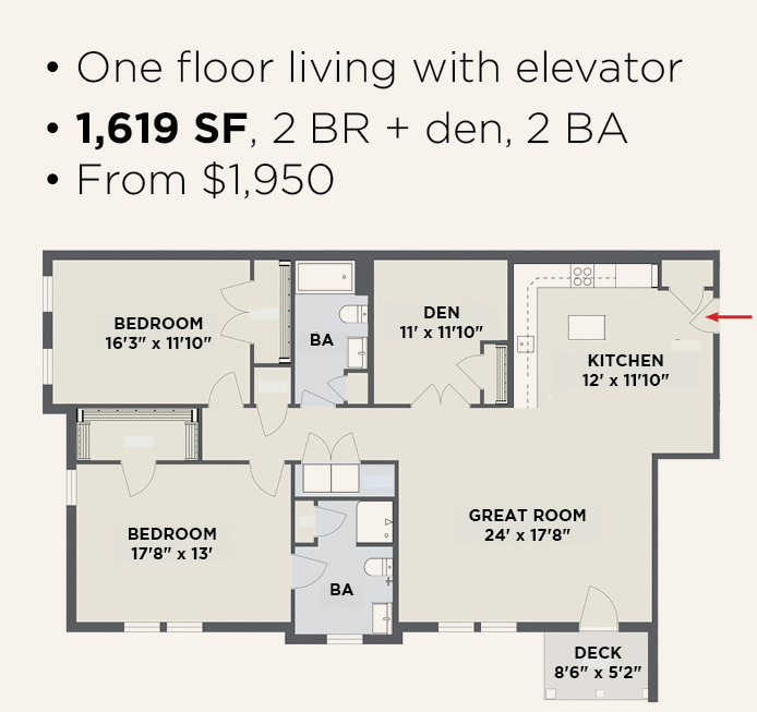 Northern Pass Luxury Living - 2 BR 2 BA + Den Apartment Layout