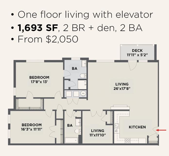 Northern Pass Luxury Living - 2 BR 2 BA + Den & Elevator Apartment Layout