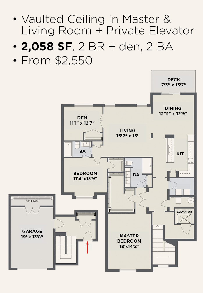 Northern Pass Luxury Living - 2 BR 2 BA + Den & Private Elevator Apartment Layout